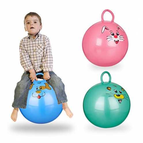nachhaltig Relaxdays 3X Hüpfball Kinder im Set, mit Griff, für Drinnen und Draußen, mit Tier-Motiv... ökologisch