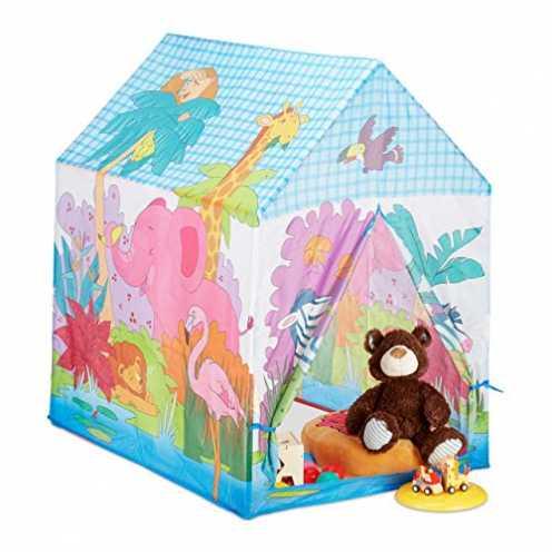 nachhaltig Relaxdays Spielzelt Dschungel Tiere, f. Kinderzimmer, Outdoor, ab 3, Stoff, Safari Kind... ökologisch