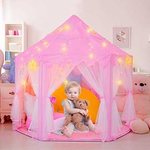 nachhaltig RenFox Castle Kinder Spielzelt, Mädchen Hexagon Prinzessin Schloss Haus Palast Zelte Ki... ökologisch