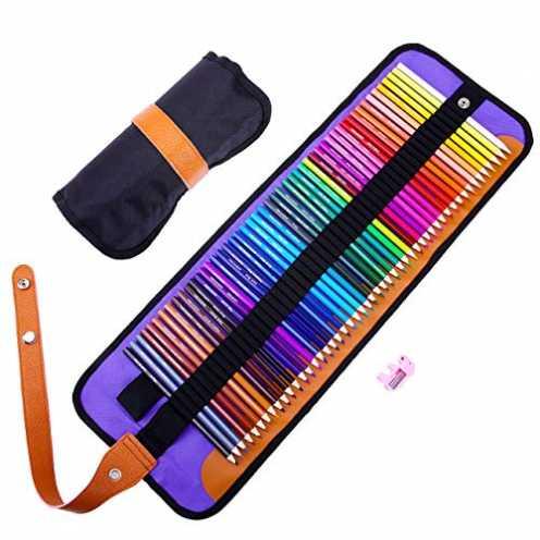 nachhaltig Buntstifte Set,Rock Ninja 50 Lebendige Farben Bleistift Set mit Premium Black Rollbaren Canvas Tasche für Künstler, K... ökologisch