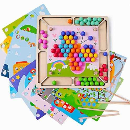 nachhaltig Rolimate Holzspielzeug Brettspiele Clip Perlen Puzzle, Montessori Spielzeug Vorschule L... ökologisch
