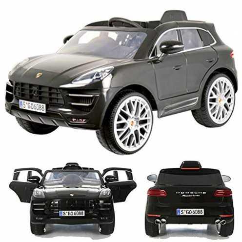 nachhaltig Rollplay Porsche Macan Turbo 12V viele LED Effekte Soft Start Kinderauto Kinderfahrzeug Kinder Elektroauto Grey ökologisch