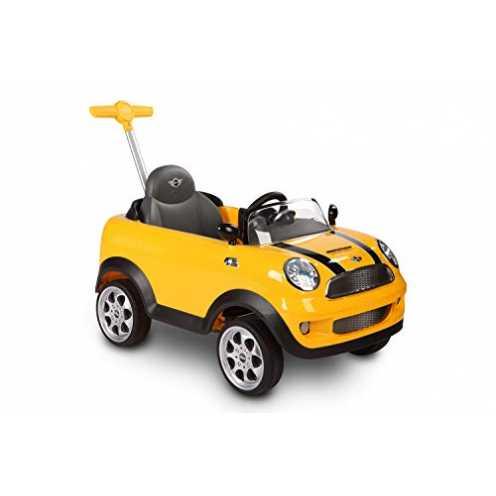 nachhaltig ROLLPLAY Push Car mit ausziehbarer Fußstütze, Für Kinder ab 1 Jahr, Bis max. 20 kg, MINI Cooper, Gelb ökologisch