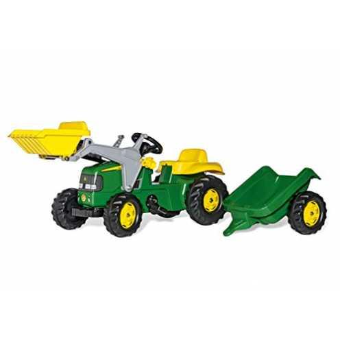 nachhaltig rolly toys | rollyKid John Deere | Kinder Trettraktor mit Frontlader und Anhänger | 023110 ökologisch