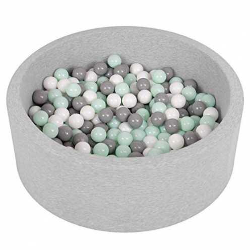 nachhaltig Selonis Bällebad Bällepool Für Baby Kinder 90X30cm/200 Bälle Rund, Hellgrau:Weiß/Grau/Minze ökologisch