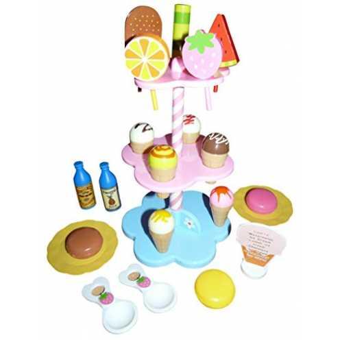 nachhaltig A137 Eis-Stand Spielzeug 22 tlg. Set, Eis als Kaufladen-Zubehör für Kinder Geschenk-Ide... ökologisch