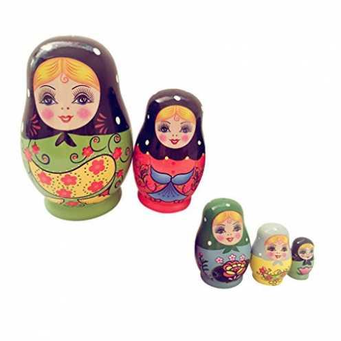 nachhaltig Sharplace 5-TLG Russische Mädchen Puppen Matroschka, Matruschka, Matrjoschka, Babuschka aus Holz Kinder Spielzeug Dek... ökologisch