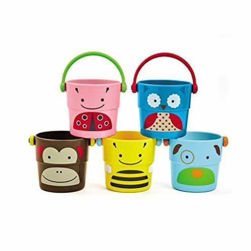 nachhaltig Skip Hop 235355 Zoo Bath - Stack & Pour Buckets - Badespielzeug kleine Becher zum Stapeln ökologisch