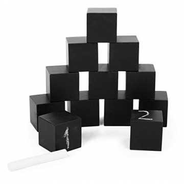 Small Foot 11194 Tafel-Bausteine aus Holz, Lernen von Buchstaben und Zahlen, Würfel Las...