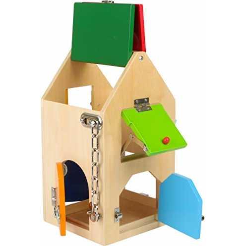 nachhaltig small foot 4432 Schlosshaus aus Holz, mit Schlössern, Riegeln, Hebeln, Scharnieren und ... ökologisch