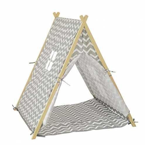 nachhaltig SoBuy OSS02-HG Spielzelt Zelt für Kinder mit 2 Türen und einem Fenster Spielhaus hellgr... ökologisch