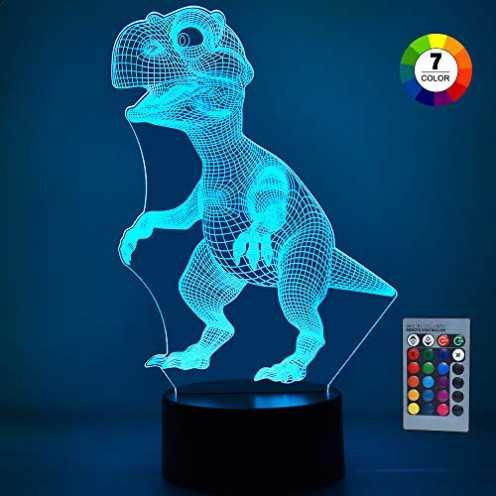 nachhaltig SOKY Geschenke für Jungen ab 3-10, 3D Dinosaurier Nachtlicht Dino Spielzeug für Kinder ... ökologisch