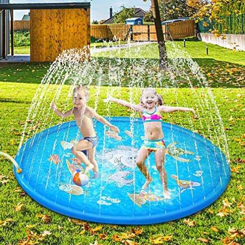 nachhaltig Sooair 170CM Splash Pad, Sprinkler Wasser-Spielmatte Splash Play Matte, Outdoor Sommer ... ökologisch
