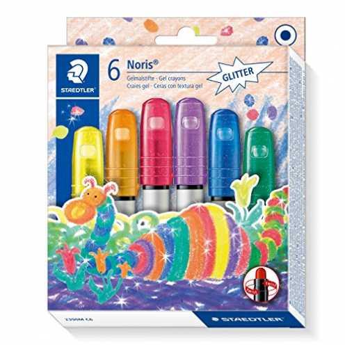 nachhaltig Staedtler Noris Club 2390M C6 Gelmalstifte, 6 Stück im Set, Glitter-Farben, perfekt für kleine Kinderhände, superweic... ökologisch