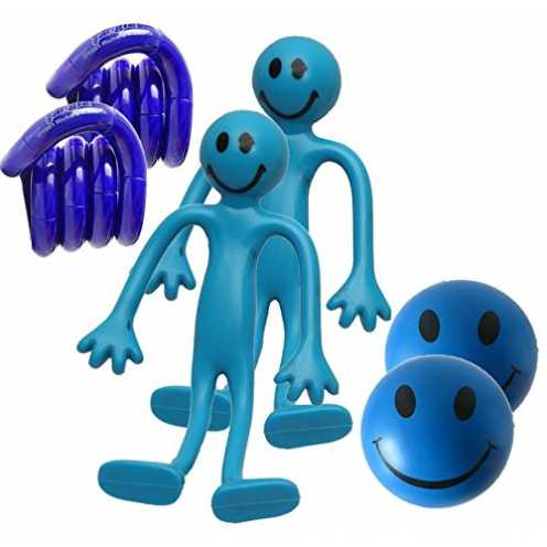 nachhaltig StressCHECK Blaue Sensorik Spielzeug-Set (6 Stück) - Stress Bälle, Bendy Man & Original... ökologisch