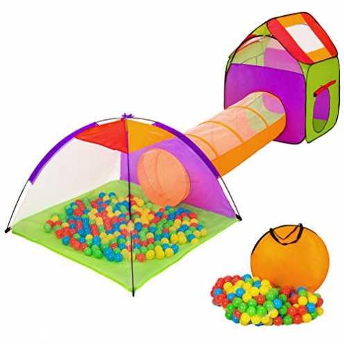 nachhaltig tectake Iglu Kinderspielzelt Spielhaus Kinderzelt mit Krabbeltunnel + 200 Bälle + Tasch... ökologisch