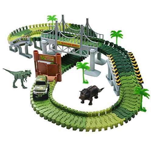 nachhaltig Rennbahn Autobahn Kinder Car Track mit Tracks Auto und Dinosaurier Autorennbahnen Juras... ökologisch