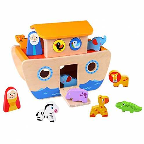 nachhaltig Tooky Toy 921 TKC304 Arche Noah Bunten Tieren Und Bauklötzen-18-Teiliges Holz-Spielzeug... ökologisch