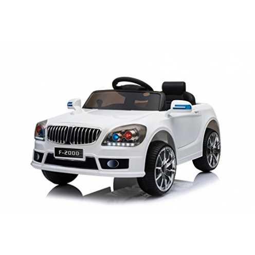 nachhaltig Toyas Kinder Elektro Auto Sportwagen Cabrio Kinderfahrzeug Akku RC LED F-2000 (Weiß) ökologisch