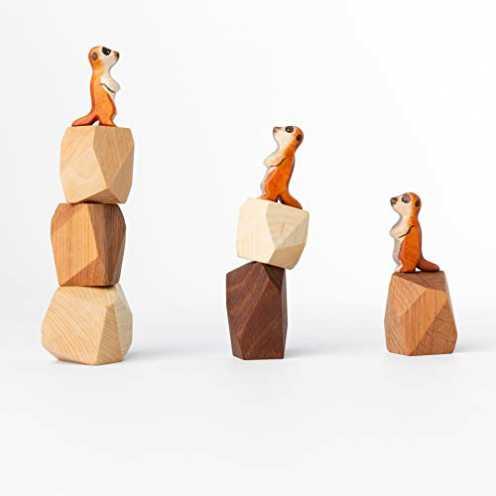 nachhaltig TRAUMHOLZIG Erdmännchen Familie (+BAU-Steine) Bio Waldorf Natur Spielzeug handgemacht a... ökologisch