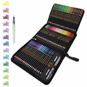 tvfly 72 Professionelle Aquarell Bleistifte, Aquarellstifte Set mit Premium Black Zipper Case Einfach zu lagern und z...
