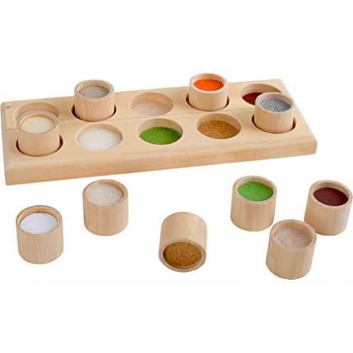 nachhaltig small foot 2064 Sinnesspiel Fühlmemo aus Holz, mit zehn hochwertigen Holzdosen und eine... ökologisch