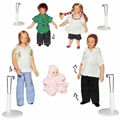 nachhaltig Unbekannt 5 TLG. Set - Familie mit Kinder & Baby - Puppe für Puppenstube Miniatur / Maßstab 1:12 - Porzellan Puppen m... ökologisch