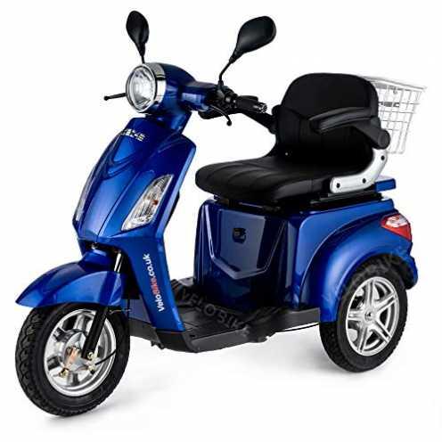nachhaltig VELECO Dreirad ElektroRoller E-Scooter Elektromobil 25 km/h 900W 3 Rad Seniorenfahrzeug Seniorenmobil ZT15 (Blau) ökologisch