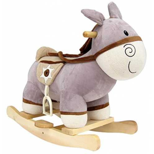 nachhaltig Wagner 9550 - Schaukeltier Esel aus Holz und Plüsch für Kinder und Babys Schaukelpferd Schaukel-Donkey Western ökologisch