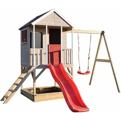 nachhaltig Wendi Toys M9 Summer Adventure House & Plattform & Rutsche | Kinderspielhaus aus Holz a... ökologisch