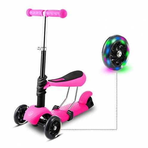 nachhaltig WeSkate 3-in-1 3 Räder Kinder Scooter Roller Tretroller mit SitzMini Kinderscooter Kinderroller Kickboard mit Leuchtr... ökologisch