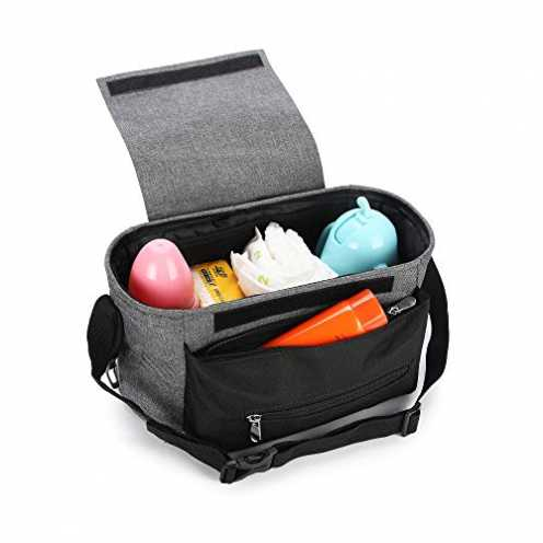 nachhaltig Wirezoll Kinderwagen Organizer, Universale Baby Kinderwagentasche Buggy Tasche mit Stahlring und verstellbaren Bänder... ökologisch