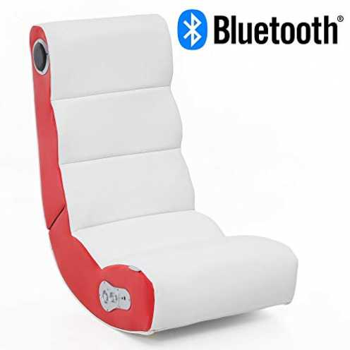 nachhaltig Wohnling® Soundchair Wobble in Weiß Rot mit Bluetooth   Musiksessel mit eingebauten Lau... ökologisch
