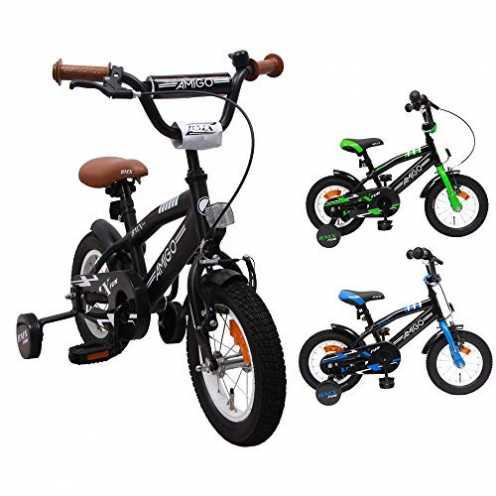 nachhaltig BMX Fun - Kinderfahrrad - 12 zoll - Jungen - mit Rücktritt und Stützräder - ab 3 Jahre - Schwarz ökologisch