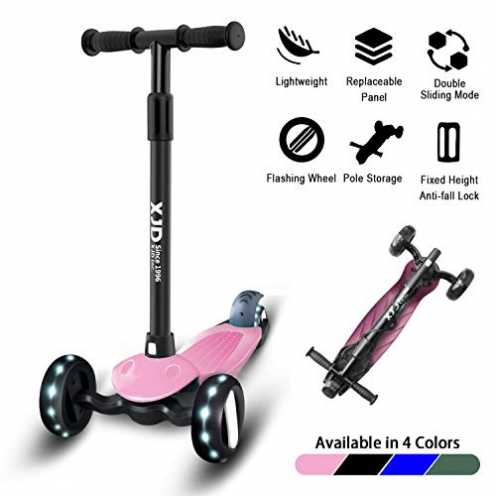 nachhaltig XJD Kinderroller Dreiradscooter ProRäder V1 Höhenverstellbar Richtungssperre mit Licht 1,5-10 Alt (Pink) ökologisch