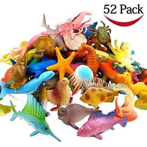 nachhaltig Meerestiere Spielzeug, 52 Stück Ausgewählte Mini Vinyl Plastik Tiere als Spielzeugset, ... ökologisch