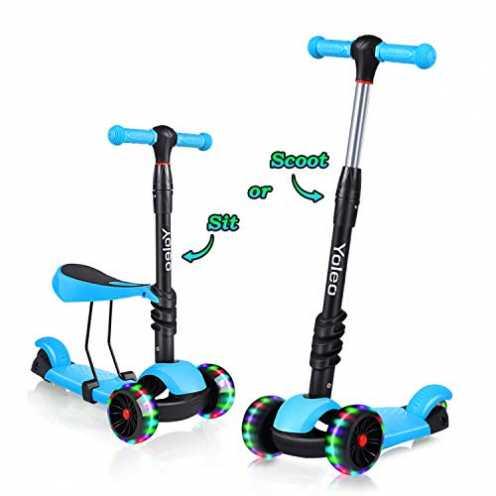 nachhaltig Yoleo 3-in-1 Kinder Roller Scooter mit Abnehmbarem Sitz, LED große Räder, Höheverstellbare Lenker für Kleinkinder Jun... ökologisch