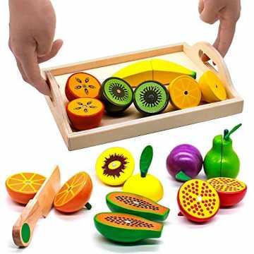 Obst Gemüse Holz Spielzeug Schneidebrett mit Früchten Kuchen Vorgeben Rollenspiele Kind...