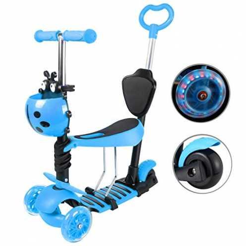 nachhaltig Yorbay Kleinkinder Kinder Scooter Roller 3-in-1 3 Räder Mini Kinderroller Tretroller mit Abnehmbarem Sitz Leuchtrolle... ökologisch