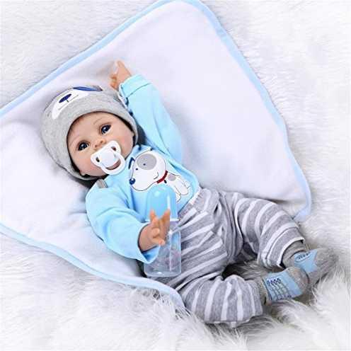 nachhaltig ZIYIUI Lebensecht Babypuppe Reborn Babys Puppen Realistische Reborn Junge Silikon Puppe 55 cm Kinder Spielzeug Geschenke ökologisch